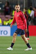 Barcelona defender Jordi Alba (18) warm up during the Champions League quarter-final leg 2 of 2 match between Barcelona and Manchester United at Camp Nou, Barcelona, Spain on 16 April 2019.