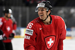 06.05.2017, AccorHotels Arena, Paris, FRA, IIHF WM 2017, Schweiz vs Slowenien, Gruppe B, im Bild Damian Brunner (SUI) lacht // during the group B match of 2017 IIHF World Championship between Switzerland and Slovenia at the AccorHotels Arena in Paris, France on 2017/05/06. EXPA Pictures © 2017, PhotoCredit: EXPA/ Freshfocus/ Urs Lindt<br /> <br /> *****ATTENTION - for AUT, SLO, CRO, SRB, BIH, MAZ, ITA only*****