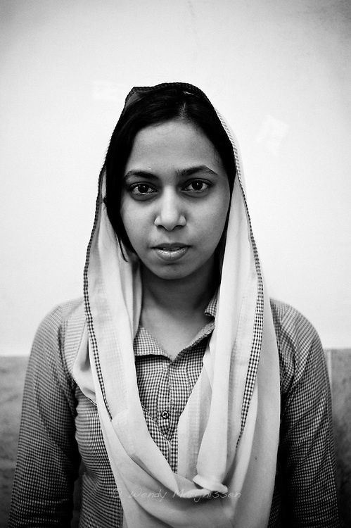 Kishwar Jahen, 19 years old.  It wasn't her dream to study midwifery because her sister chose this profession for her, but by now she is motivated and wants to help the poor women and become a good midwife.