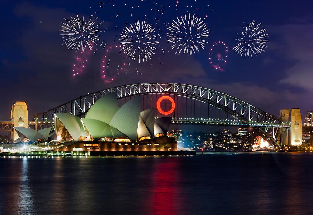O for Oprah is lit up on the Sydney Harbour Bridge