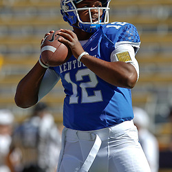 October 1, 2011; Baton Rouge, LA, USA;  Kentucky Wildcats quarterback Morgan Newton (12) prior to kickoff of a game against the LSU Tigers at Tiger Stadium.  Mandatory Credit: Derick E. Hingle-US PRESSWIRE / © Derick E. Hingle 2011