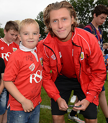 Luke Freeman of Bristol City has his photo taken with a fan - Photo mandatory by-line: Dougie Allward/JMP - Mobile: 07966 386802 - 05/07/2015 - SPORT - Football - Bristol - Brislington Stadium - Pre-Season Friendly