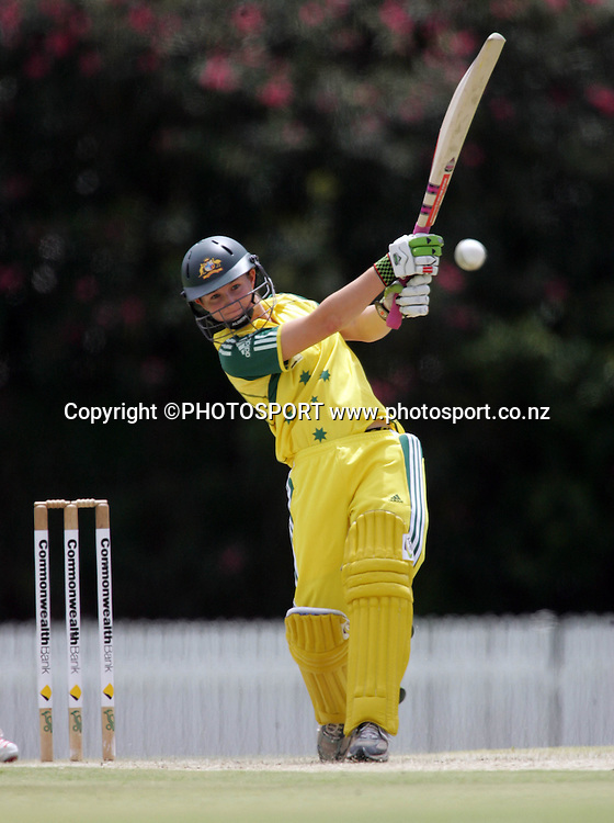 Australia's Leah Poulton on her way to 68 during the fourth ODI Rose Bowl cricket match between the White Ferns and Australia at Allan Border Field, Brisbane, Australia, on Thursday 26 October 2006. Australia won the match by 85 runs with a total of 252. Photo: Renee McKay/PHOTOSPORT<br />