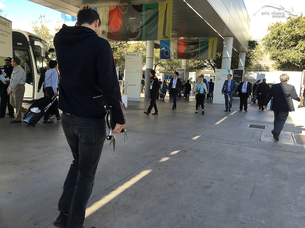 A Lily drone in the wild! This guy was walking like he really want to be disturbed. CES 2016, Las Vegas.