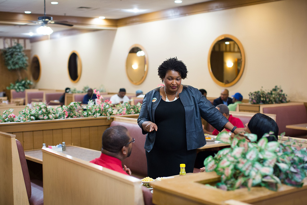 Stacey Abrams, Democratic minority leader for the Georgia House of Representatives, urges people to vote while visiting Piccadilly Cafeteria at The Gallery at South DeKalb mall in Decatur, Ga., on Wednesday, Oct. 26, 2016. Her visit was part of Georgia Women Vote Together, an event organized by Hillary for Georgia. Photo by Kevin D. Liles for The New York Times