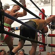 DAYTONA BEACH, FL - FEBRUARY 08:  Branden Pizarro (L) punches Gonzalo Dallera during their boxing match at Hard Rock Hotel Daytona on February 8, 2020 in Daytona Beach, Florida. (Photo by Alex Menendez/Getty Images) *** Local Caption *** Branden Pizarro; Gonzalo Dallera