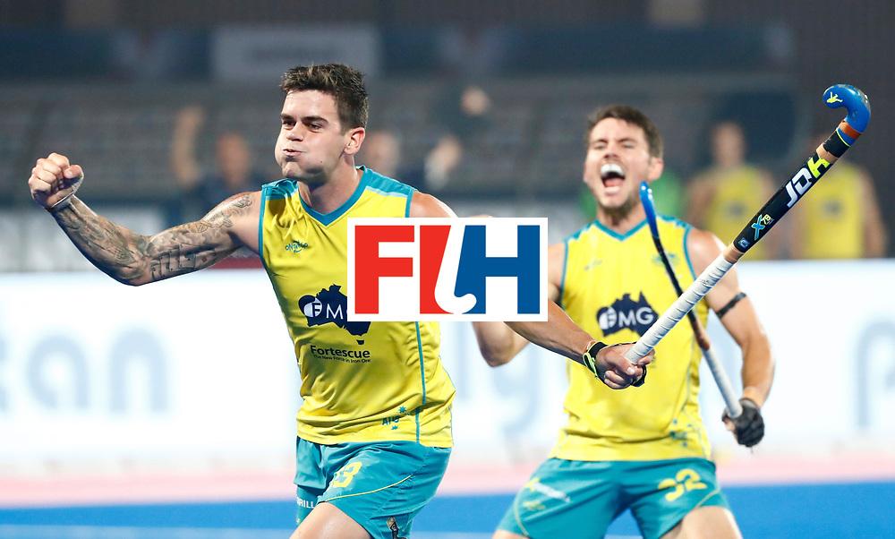 BHUBANESWAR - Blake Govers (Aus) heeft gescoord. rechts Jeremy Hayward (Aus). Hockey World League finals , Quarter Finals . Spanje-Australie (1-4)  COPYRIGHT KOEN SUYK