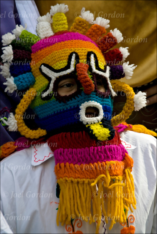 Portrail of man dressed in Ecuadorian Folk Mask at the Hispanic Columbus Day Parade in New York City