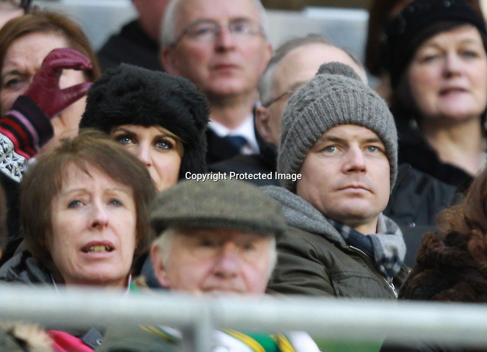 RBS Six Nations Championship, Aviva Stadium, Dublin 5/2/2012<br /> Ireland vs Wales<br /> Ireland's injured captain Brian O'Driscoll watches the match with his wife Amy Huberman<br /> Mandatory Credit &copy;INPHO/Billy Stickland