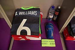 KIEV, UKRAINE - Easter Monday, March 28, 2016: The shirt of Wales' captain Ashley Williams in the dressing room before the International Friendly match against Ukraine at the NSK Olimpiyskyi Stadium. (Pic by David Rawcliffe/Propaganda)