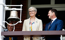 Diana Keen rings the 5 minute bell during day one of the First NatWest Test Series match at Lord's, London.