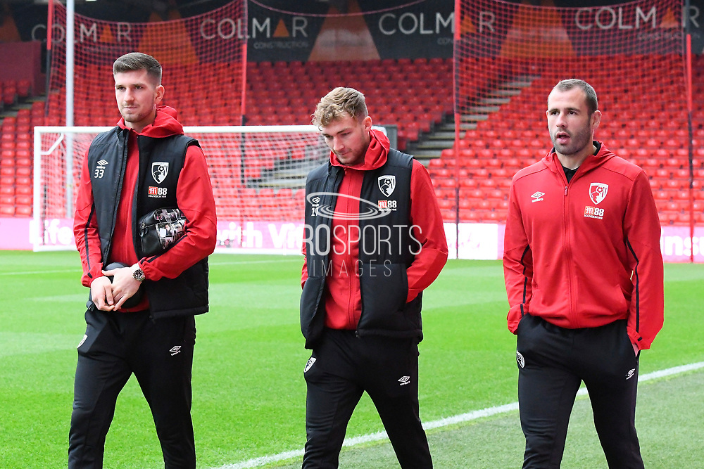 Chris Mepham (33) of AFC Bournemouth, Jack Stacey (17) of AFC Bournemouth and Steve Cook (3) of AFC Bournemouth arrive ahead of the Premier League match between Bournemouth and Wolverhampton Wanderers at the Vitality Stadium, Bournemouth, England on 23 November 2019.