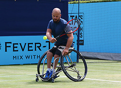 June 23, 2018 - London, England, United Kingdom - Stefan Olsson (SWE)) in action.during Fever-Tree Championships  Wheelchair Event match between Alfie Hewett (GBR ) against Stefan Olsson (SWE) at The Queen's Club, London, on 23 June 2018  (Credit Image: © Kieran Galvin/NurPhoto via ZUMA Press)
