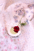 a red rose and a mirror on a vintage bed