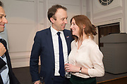 MATT HANCOCK, Secretary of State for Health and Social Care AND HIS WIFE: MARTHA HANCOCK, Rachel Kelly celebrates the publication of ' Singing In the Rain' An Inspirational Workbook. 20 Cavendish Sq. London W1. 17 January 2019.