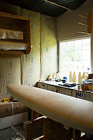 Seth Cannon Shaping surfboards in Nehalem, Oregon.