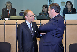 Luc Frieden, Luxembourg's minister of Finance, left, speaks with Josef Proell, Austria's finance minister, during Eurogroup, the meeting of finance ministers from the sixteen countries that use the Euro as their currency,  at EU Council headquarters in Brussels, Belgium, on Monday, Nov. 9, 2009. (Photo © Jock Fistick)