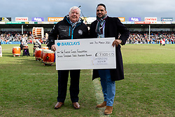 Exeter Chiefs CEO Tony Rowe OBE receives a cheque for £7,300 for the The Exeter Chiefs Foundation from Michael Caines at Half Time - Mandatory by-line: Ryan Hiscott/JMP - 07/03/2020 - RUGBY - Sandy Park - Exeter, England - Exeter Chiefs v Bath Rugby - Gallagher Premiership Rugby