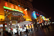 Wangfujing Dajie shopping street and pedestrian zone. Shopping at night.