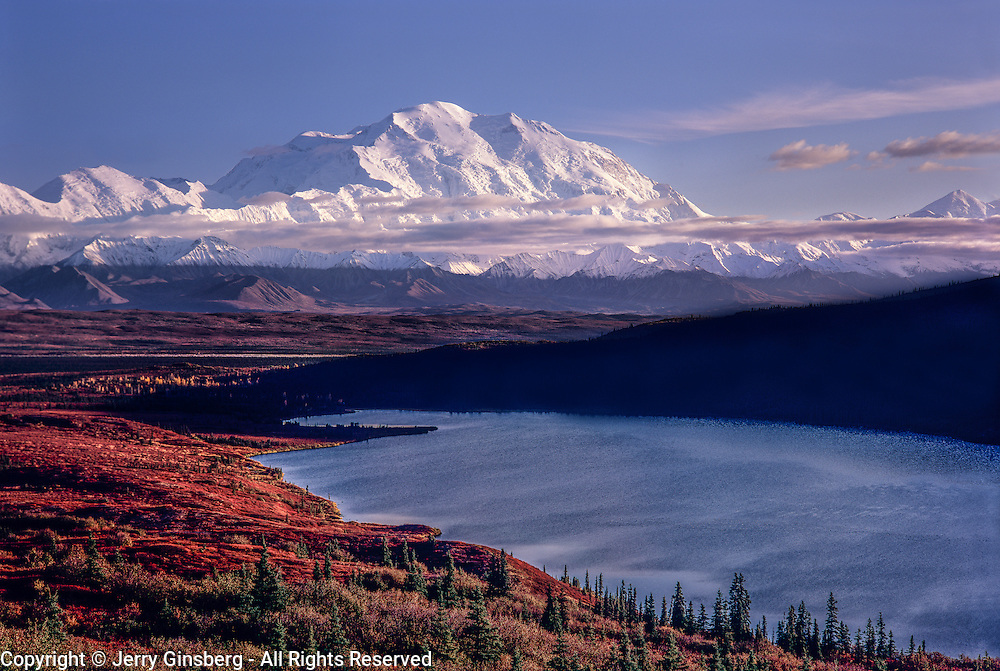 North America, United States, Northwest, Pacific Northwest, Alaska, Denali, denali National Park, Denali NP<br /> Massive Denali, at 20,340 feet high the tallest mountain in all of North America towers above Wonder Lake in Denali National Park, AK.
