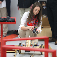 Lauren Wood | Buy at photos.djournal.com<br /> Makenna Cowsert turns on the South Pontotoc High School's robot to maneuver through a quadrant Thursday during the BEST robotics lunch at Toyota Motor Manufacturing Mississippi.