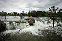 JEROME A. POLLOS/Press..Flood waters from the Spokane River cascade over the rocks at Corbin Park in Post Falls which are typically above water and used as a launching point for kayakers.