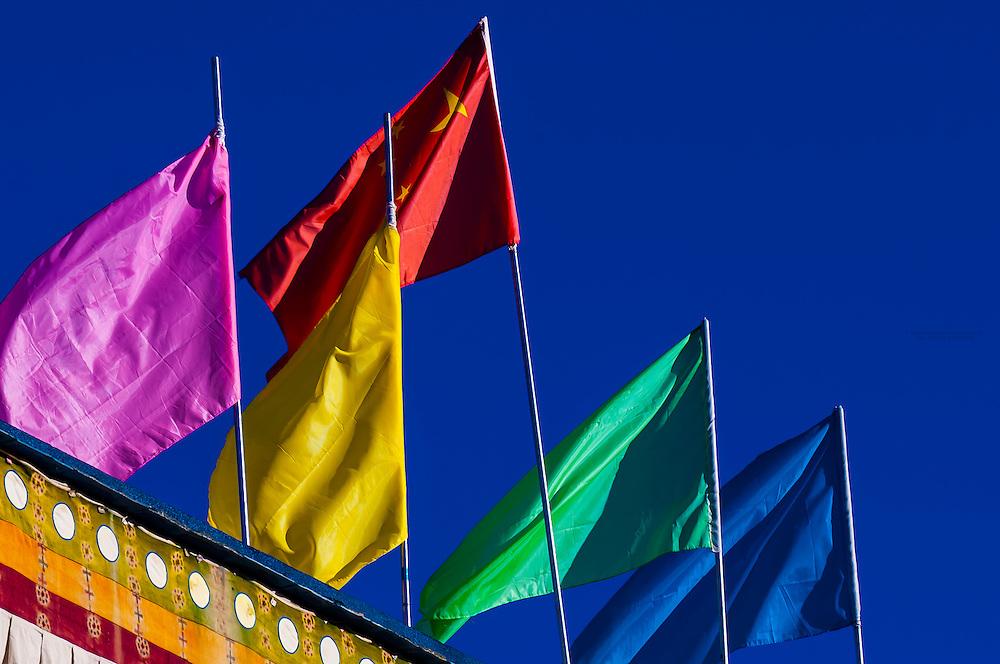 Flags, Lhasa, Tibet, China.