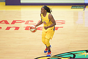 Los Angeles Sparks guard Chelsea Gray (12) dribble the ball at center court during a WNBA basketball game, Friday, May 31, 2019, in Los Angeles.The Sparks defeated the Sun 77-70.  (Dylan Stewart/Image of Sport)