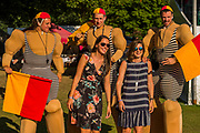 Performers entertain the crowds - Henley Festival is a boutique event over five days celebrating the best of UK & international music and arts with a programme from pop to world music, classical to jazz, blues to jazz musicians, where art, comedy and gastronomy share equal billing with music. Henley on Thames 05 July 2017