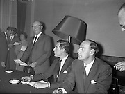 27/09/960<br /> 09/27/1960<br /> 27 September 1960<br /> The Irish Packaging Awards. Press conference to announce the results of the packaging competition at the Shelbourne Hotel, Dublin. (l-r) Mr. Norman Goodbody speaking, included is Mr. N.M. De Majo, judge and Mr. Frank Sutton, Chairman of Packaging Institute.