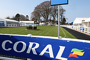 A general view of the Parade Ring prior to the Scottish Grand National, Ladies day at Ayr Racecourse, Ayr, Scotland on 12 April 2019.
