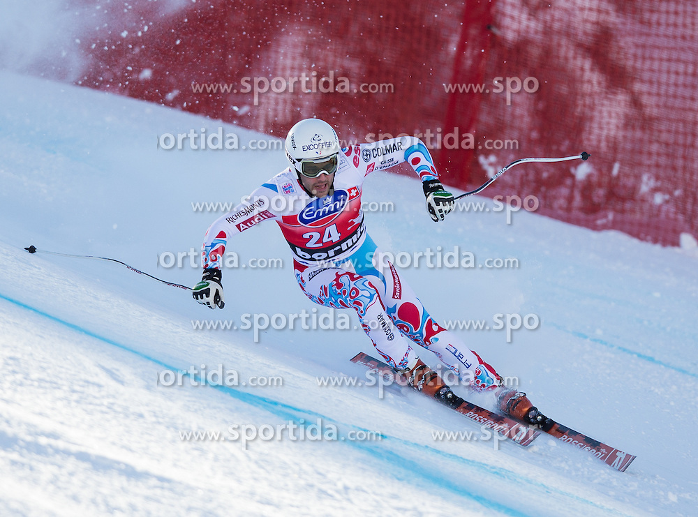 27.12.2013, Stelvio, Bormio, ITA, FIS Ski Weltcup, Bormio, Abfahrt, Herren, 1. Traininglauf, im Bild Brice Roger (FRA) // Brice Roger of France in action during mens 1st downhill practice of the Bormio FIS Ski Alpine World Cup at the Stelvio Course in Bormio, Italy on 2012/12/27. EXPA Pictures © 2013, PhotoCredit: EXPA/ Johann Groder