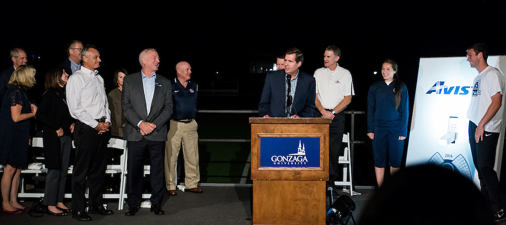 Gonzaga University's board of directors and instrumental donors joined together to officially light Luger Field for the first time on September 28th, 2016. (Photo by Edward Bell)