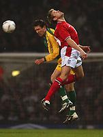 Photo. Javier Garcia<br />12/02/2003 England v Australia, Friendly International, Upton Park<br />James Beattie, right, challenges with Crystal Palace's Tony Popovic