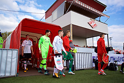 MOSCOW, RUSSIA - Tuesday, September 26, 2017: Liverpool's captain Ben Woodburn leads his side out to face Spartak Moscow before the UEFA Youth League Group E match between Liverpool and Spartak Moscow FC at the Spartak Academy. (Pic by David Rawcliffe/Propaganda)