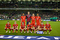 DUBLIN, IRELAND - Tuesday, October 16, 2018: Wales' players line-up for a team group photograph before the UEFA Nations League Group Stage League B Group 4 match between Republic of Ireland and Wales at the Aviva Stadium. Back row L-R: Captain Ashley Williams, goalkeeper Wayne Hennessey, James Chester, Tyler Roberts. Front row L-R: Harry Wilson, Matthew Smith, Joe Allen, Tom Lawrence, Connor Roberts, Ben Davies, David Brooks. (Pic by David Rawcliffe/Propaganda)