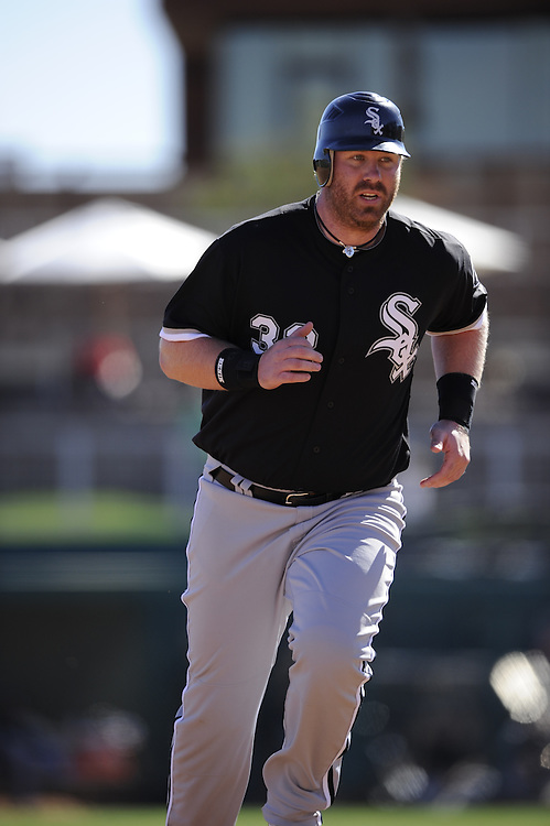 GLENDALE, AZ - FEBRUARY 28:  Adam Dunn #32 of the Chicago White Sox runs the bases during the game against the Los Angeles Dodgers on February 28, 2011 at The Ballpark at Camelback Ranch in Glendale, Arizona. The Dodgers defeated the White Sox 6-5.  (Photo by Ron Vesely)