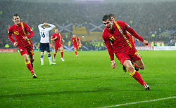 CARDIFF, WALES - Friday, October 12, 2012: Wales' two-goal hero Gareth Bale celebrates scoring the second goal against Scotland during the Brazil 2014 FIFA World Cup Qualifying Group A match at the Cardiff City Stadium. (Pic by David Rawcliffe/Propaganda)