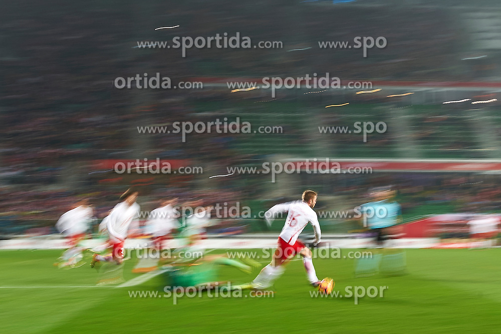 Wroclaw, Poland - 2016 November 14: Jakub Blaszczykowski of Poland controls the ball during Poland v Slovenia - International Friendly Soccer Match at Municipal Stadium on November 14, 2016 in Wroclaw, Poland.<br /> <br /> Adam Nurkiewicz declares that he has no rights to the image of people at the photographs of his authorship.<br /> <br /> Picture also available in RAW (NEF) or TIFF format on special request.<br /> <br /> Any editorial, commercial or promotional use requires written permission from the author of image.<br /> <br /> Mandatory credit:<br /> Photo by © Adam Nurkiewicz / Mediasport