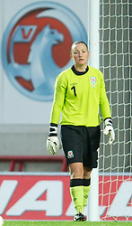 LLANELLI, WALES - Saturday, September 15, 2012: Wales' goalkeeper Nicola Davies looks dejected as Scotland score the second goal during the UEFA Women's Euro 2013 Qualifying Group 4 match at Parc y Scarlets. (Pic by David Rawcliffe/Propaganda)