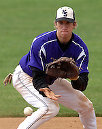 Kansas State third basemen Jared Goedert gets ready to field a ground ball agaisnt Oklahoma State in the eighth inning.  Oklahoma State defeated K-State 9-4 in 10 innings at Tointon Stadium in Manhattan, Kansas, April 30, 2006.