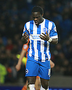 Brighton striker Elvis Manu shows his frustration after going close to scorng during the Sky Bet Championship match between Brighton and Hove Albion and Ipswich Town at the American Express Community Stadium, Brighton and Hove, England on 29 December 2015. Photo by Bennett Dean.