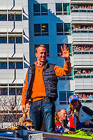 Quarterback Peyton Manning, Denver Broncos Super Bowl 50 Victory Parade, Downtown Denver, Colorado USA. An estimated 1 million people came to the parade and rally.