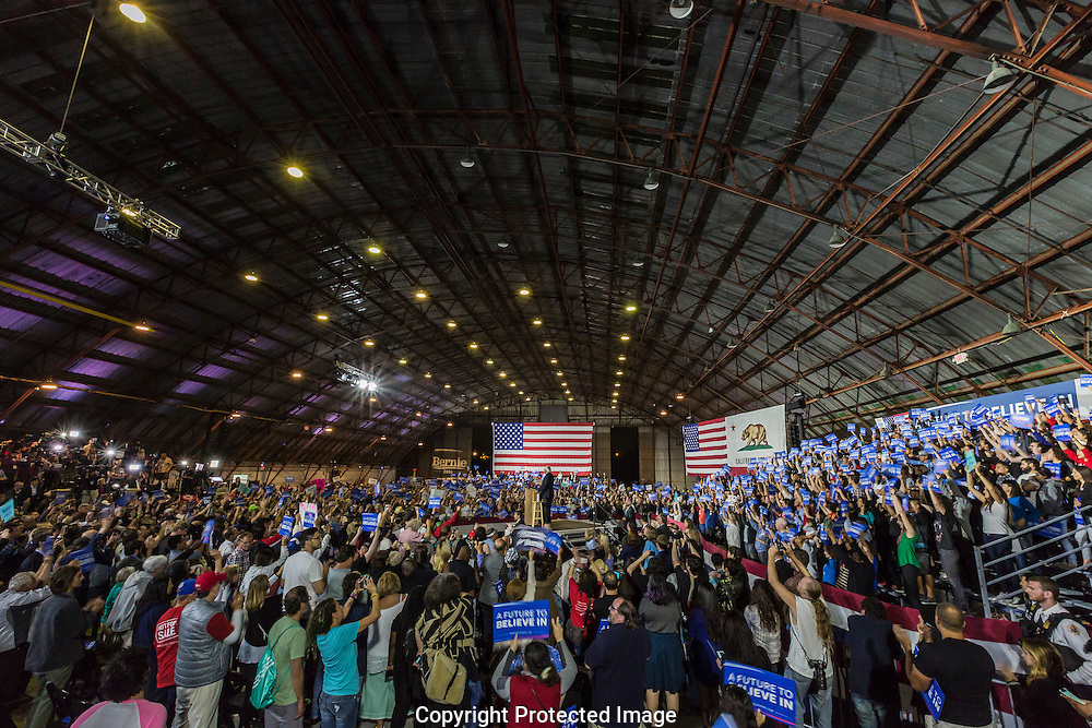 Bernie Sanders delivering a speech in Santa Monica Airport's Barker Hanger and losing the California Primary election to Hillary Clinton.<br /> He vowed not to quit the presidential race and was gonna contest it all the way through the convention next month.
