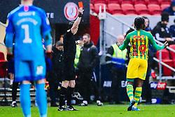 Romaine Sawyers of West Brom is shown a red card - Rogan/JMP - 22/02/2020 - Ashton Gate Stadium - Bristol, England - Bristol City v West Bromwich Albion - Sky Bet Championship.
