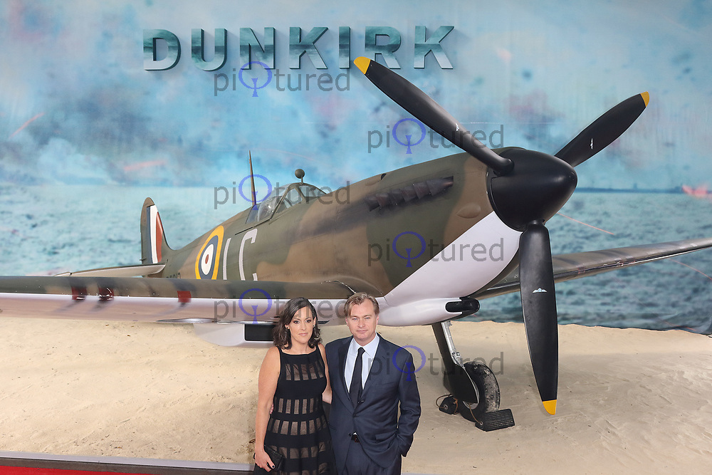 Emma Thomas, Christopher Nolan, Dunkirk - World film premiere, Leicester Square Gardens, London UK, 13 July 2017, Allied soldiers from Belgium, the British Empire, Canada, and France are surrounded by the German army and evacuated during a fierce battle in World War II.