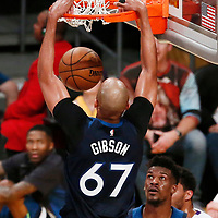 25 December 2017: Minnesota Timberwolves forward Taj Gibson (67) dunks the ball in front of Minnesota Timberwolves guard Jimmy Butler (23) during the Minnesota Timberwolves 121-104 victory over the LA Lakers, at the Staples Center, Los Angeles, California, USA.