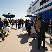 Students and Lifelong Learners completing the check-in process to board the MV Explorer on Embarkation day for the Semester at Sea Spring 2014 Voyage, January 10th 2014, in Ensenada, Mexico.