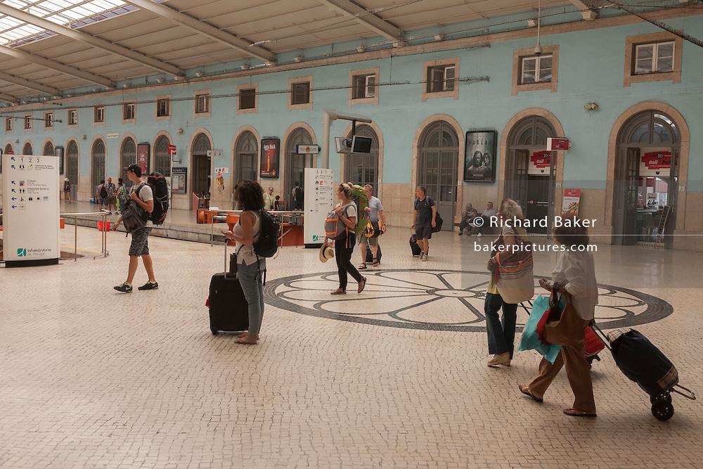 The concourse of Santa Apolónia Station, the oldest railway terminus in Portugal, Lisbon.