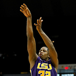 November 12, 2011; Baton Rouge, LA; LSU Tigers guard John Isaac (32) against the Nicholls State Colonels during the first half of a game at the Pete Maravich Assembly Center.  Mandatory Credit: Derick E. Hingle-US PRESSWIRE
